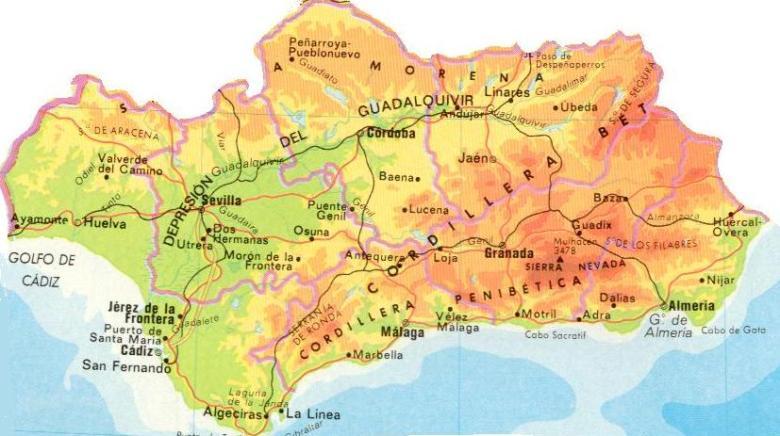 Mapa físico Andalucía
