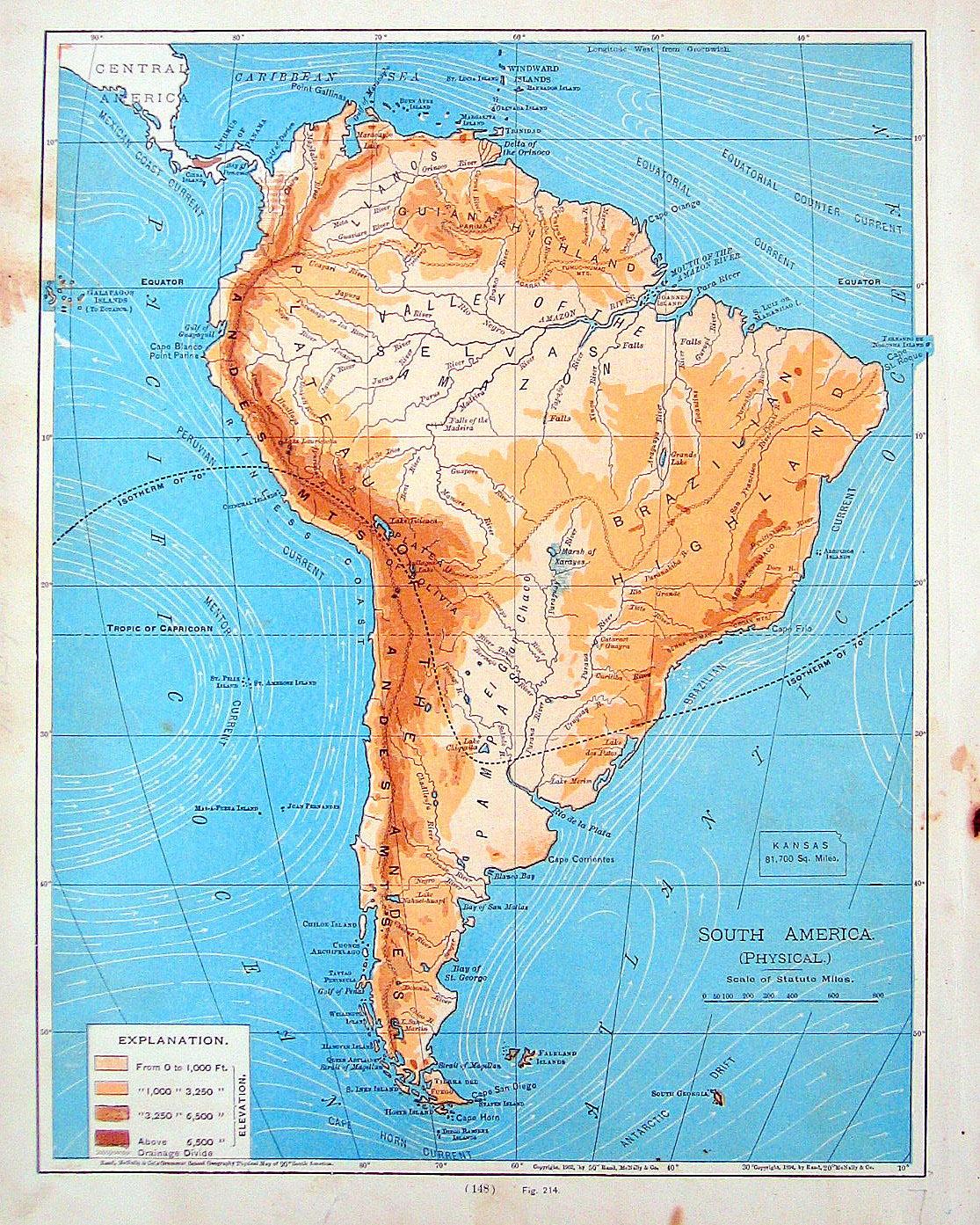 Mapa físico Sudamérica - Ríos, cordilleras, valles, costas de América del Sur